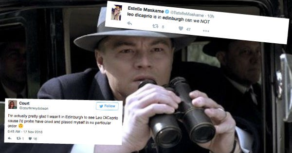 twitter leo dicaprio scotland freakout reactions coffee celeb fans - 1157381