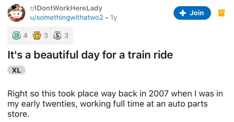A happy senior mistakes a man's car for a taxi, and a wholesome ride ensues | r/IDontWorkHereLady Join u/somethingwithatwo2 1y 's beautiful day train ride XL Right so this took place way back 2007 my early twenties, working full time at an auto parts store drove white 1982 Nissan Pulsar ancient but no complaints Relevant promise s 7am driving work one morning and pull up at crosswalk allow dog walker pass .