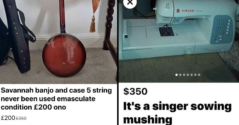funny misspelling | Savannah banjo and case 5 string never been used emasculate condition £200 ono £200£250 Listed 11 hours ago Dundee, Scotland | SINGER Futura $350 's singer sowing mushing Listed about an hour ago Owens Cross Roads, AL