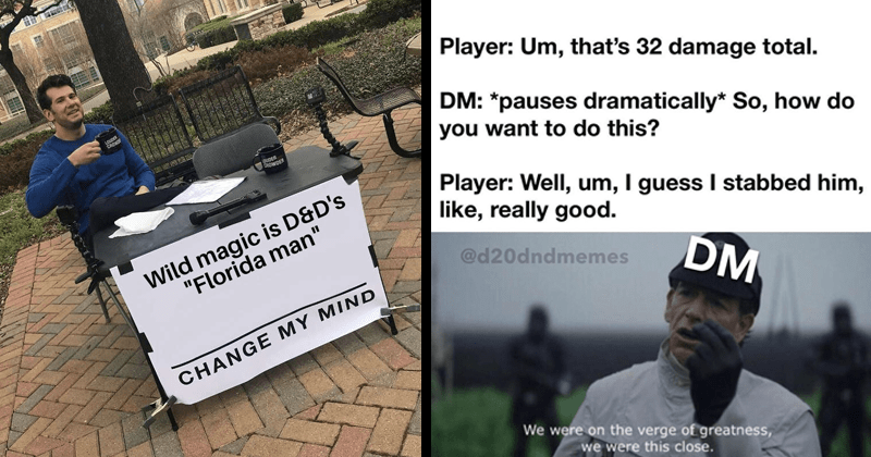 "funny memes about dungeons and dragons | Stever Crowder LOUDER CROWE MIDER CROWDER Wild magic is D&D's ""Florida man"" CHANGE MY MIND RES 