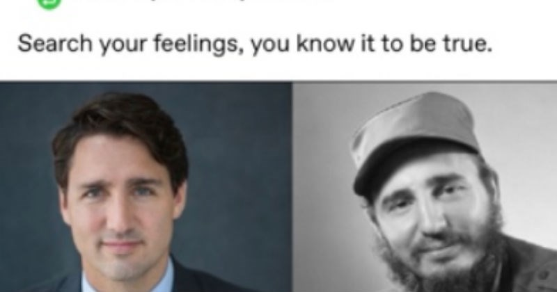 Tumblr conspiracy theory that Justin Trudeau is Fidel Castro's son.