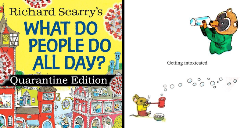 Funny quarantine parody of Richard Scarry's what do people do all day by steph plant