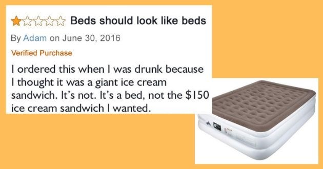 hilarious product reviews amazon pictures   Beds should look like beds By Adam on June 30, 2016 Verified Purchase ordered this drunk because thought giant ice cream sandwich s not s bed, not 150 ice cream sandwich wanted.