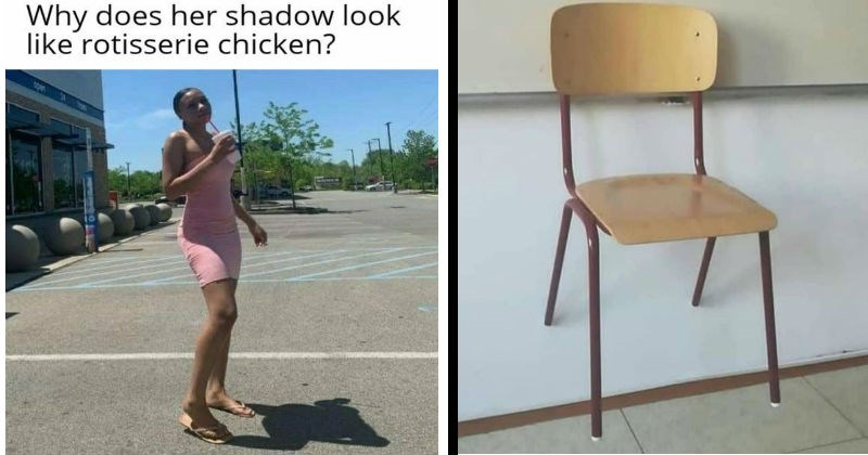 interesting and weird optical illusions caused by perspective | Person - Why does her shadow look like rotisserie chicken? pen | chair looks like its floating against the wall optical illusion