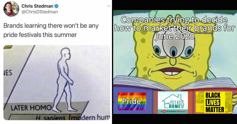 Funny dank memes about corporations during Pride month | Chris Stedman @ChrisDStedman Brands learning there won't be any pride festivals this summer IES LATER HOMO H sapiens (modern hum | Companies trying decide market their brands June 2020 allanthuseslumberers BLACK LIVES EMA Pride SSTAY CHOMEW MATTER 10 SPREAD CERONVIRUS