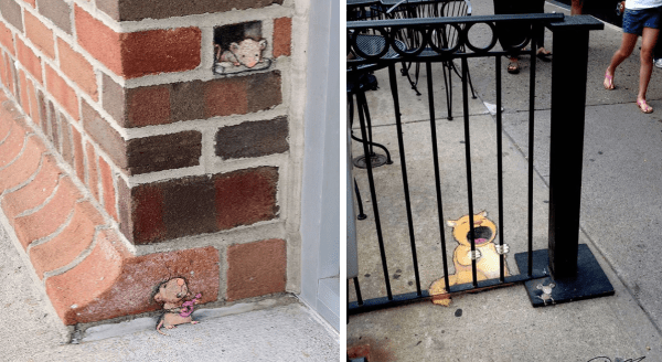Clever 3D Chalk Street Art Featuring Funny Animals | funny pic of a crying yellow cat drawn on the ground looking as if its holding onto the bars of a railing like its incinerated in jail | cute cats drawn on a brick wall serenading