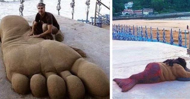 street artist sand sculptures beach animals instagram | amazing sculpture statues made of sand man next to a giant foot and chubby mermaid lying on her front