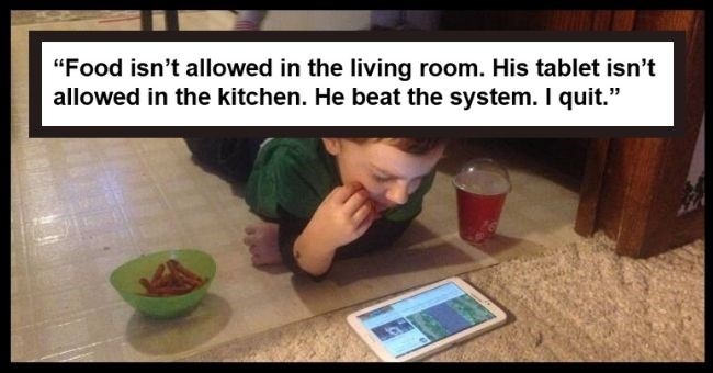 problems solutions funny pics created genius photos | Food isn't allowed in the living room. His tablet isn't allowed in the kitchen. He beat the system. I quit. kid eating on the floor while watching a tablet