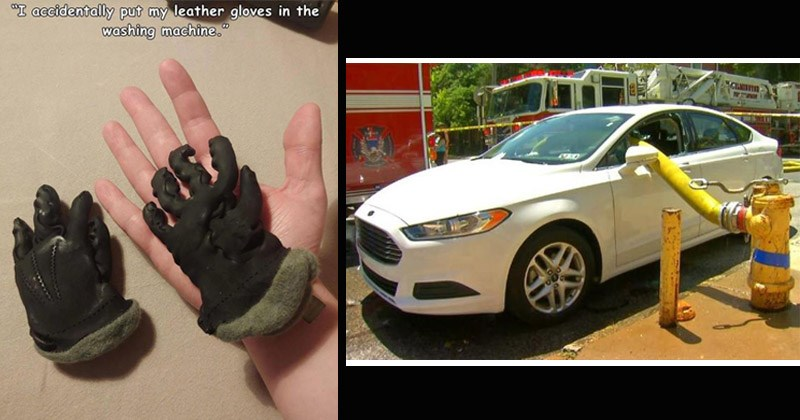 Funny images of fails | accidentally put my leather gloves washing machine. tiny shrunk gloves | water hose attached to a fire hydrant passing through the window of a car blocking the path