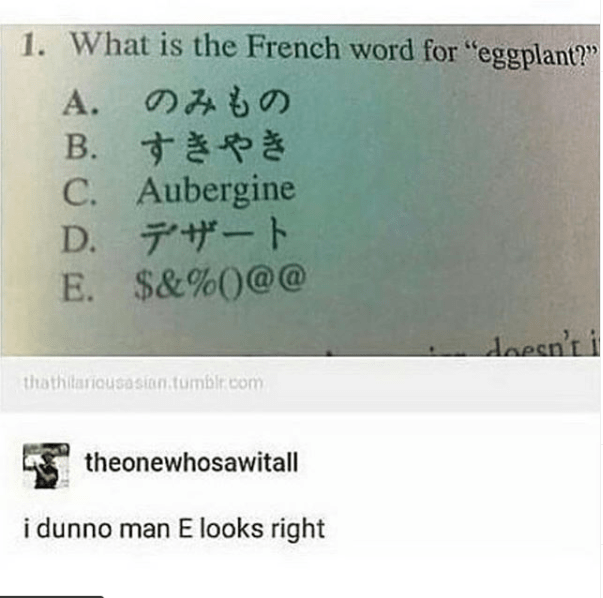 top ten 10 tumblr posts daily | 1 is French word eggplant B C. Aubergine D E 0 doesn't thathilariousasian.tumblr.com theonewhosawitall dunno man E looks right