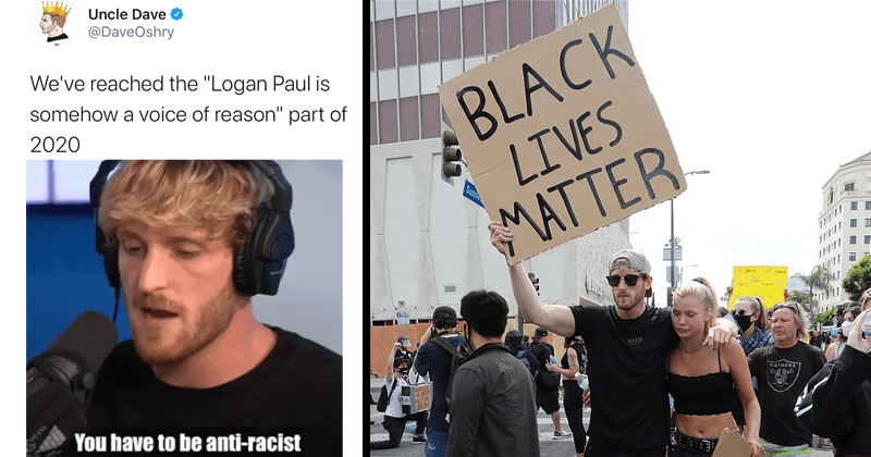 "Logan Paul speech about black lives matter, twitter reactions, police brutality | @DaveOshry reached Logan Paul is somehow voice reason"" part 2020 Logan Paul @LoganPaul 2d have be anti-racist 