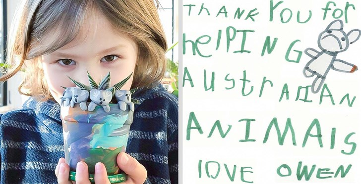 clay koalas australia fires animals aww hero kid boy donated | THANK for helping Australian ANIMALS LOVE OWEN young boy holding up a potted plant decorated with small koala figurines and a handwritten note