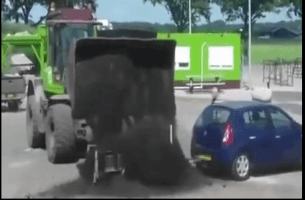 funny gif lists | green colored dump trump fail, completely misses open container attached to a blue car