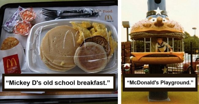 mcdonald's nostalgia pics decades throwback reddit nostalgic | Mickey D's old school breakfast pancakes and hash browns in a plastic box | McDonald's Playground Hamburglar shaped carousel