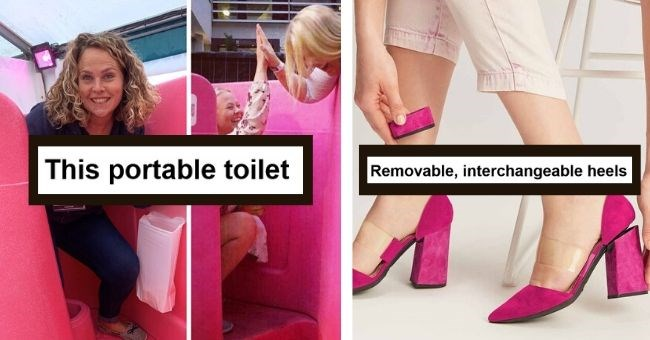 inventions women grateful pics genius simple products amazon | A portable toilet for ladies women high fiving each other | Removable interchangeable heels pink