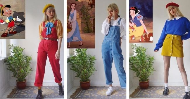sisters famous characters vintage clothing instagram dress up | woman showing off outfits inspired by Disney characters Pinocchio Belle from Beauty and the Beast and Snow White