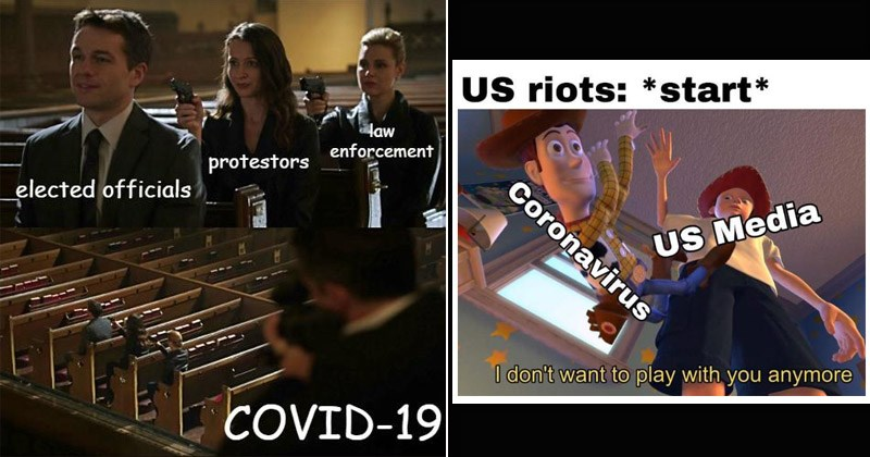 Funny memes about people forgetting about the COVID-19 pandemic and focusing more on the protests | Assassination chain law enforcement protestors elected officials COVID-19 | Toy Story Andy dropping Woody US riots start Coronavirus US Media don't want play with anymore 0.