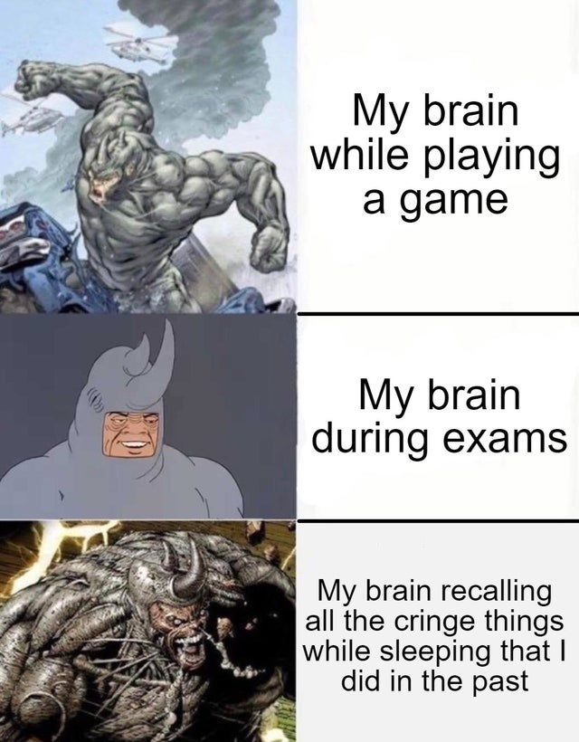 top ten 10 dank memes daily | Мy brain while playing game My brain during exams My brain recalling all cringe things while sleeping did past Rhino from the 60s Spider Man cartoon