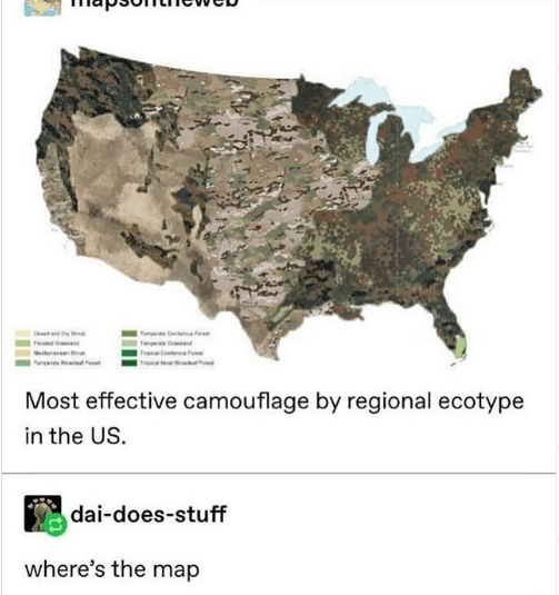 top ten 10 tumblr posts daily | Fere eat Ped Te Mrar Most effective camouflage by regional ecotype US. dai-does-stuff where's map camouflage army military print