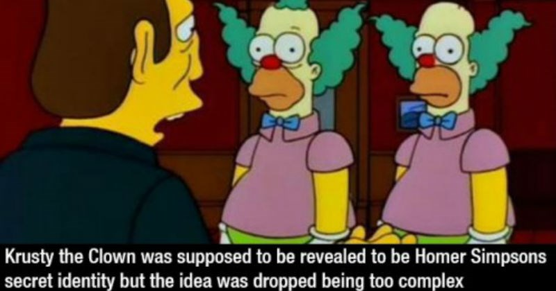 Interesting facts about the television show The Simpsons | Krusty Clown supposed be revealed be Homer Simpsons secret identity but idea dropped being too complex two clowns with green hair in purple shirts