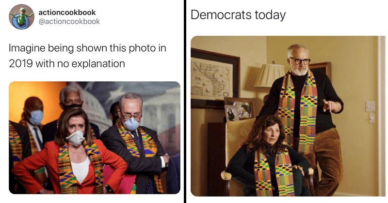Tweets making fun of house democrats for wearing kente cloth in honor of murdered george floyd | Save actioncookbook @actioncookbook Imagine being shown this photo in 2019 with no explanation Nancy Pelosi in African pattern and face mask | Democrats today Get Out evil parents photoshopped with the cloth