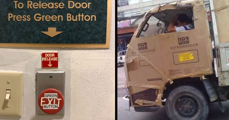 Funny, questionable, resourceful low budget fixes | Release Door Press Green Button DOOR RELEASE GREEN EXIT BUTTON red button | truck fixed with cardboard from a box REFRIGERADOR