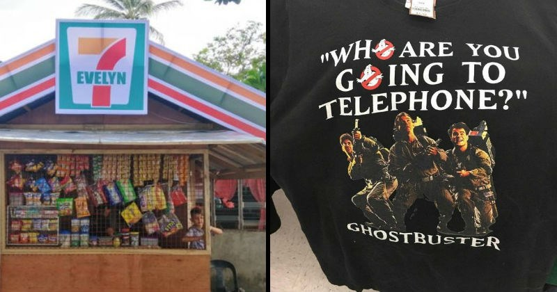 Funny bootleg and knockoff products | 7 11 rip off 7 evelyn convenience store | Ghostbusters shirt Who you gonna call? WHO ARE GOING TELEPHONE GHOSTBUSTER