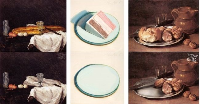 gluten free art museum funny pictures artist artwork   artworks masterpieces paintings photoshopped edited so that all bread and gluten products are missing