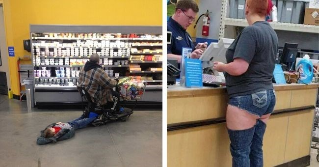 people walmart funny pictures shopping groceries | child dragged on the floor by a person in a mobile scooter | person paying a cashier dressed in tiny jean shorts denim underwear