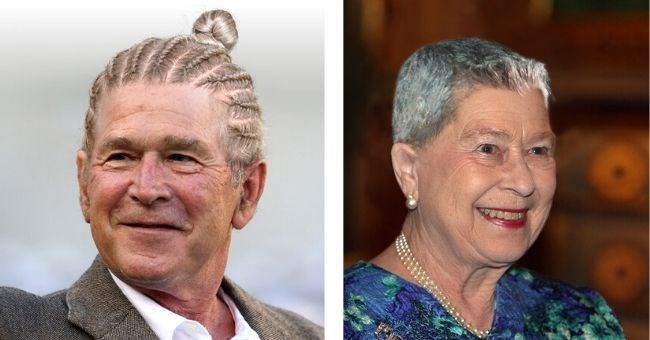 world leaders different haircuts funny pics trump obama putin clinton | Geroge W. Bush in cornrows | Queen Elizabeth II with a short pixie cut hairstyle