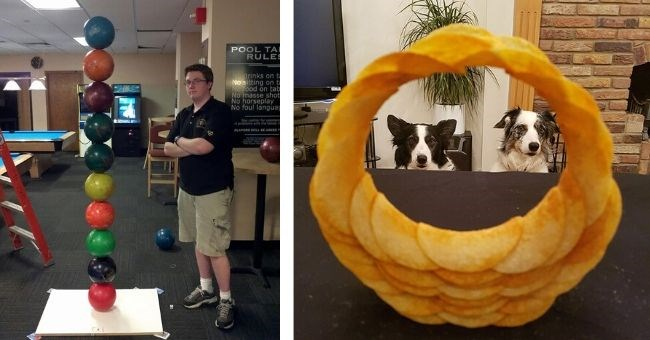pics perfectly balanced objects reddit imgur oddly | tower of bowling balls stacked on top of each other | ring made of pringles Pringle Ringle Border Collie Border