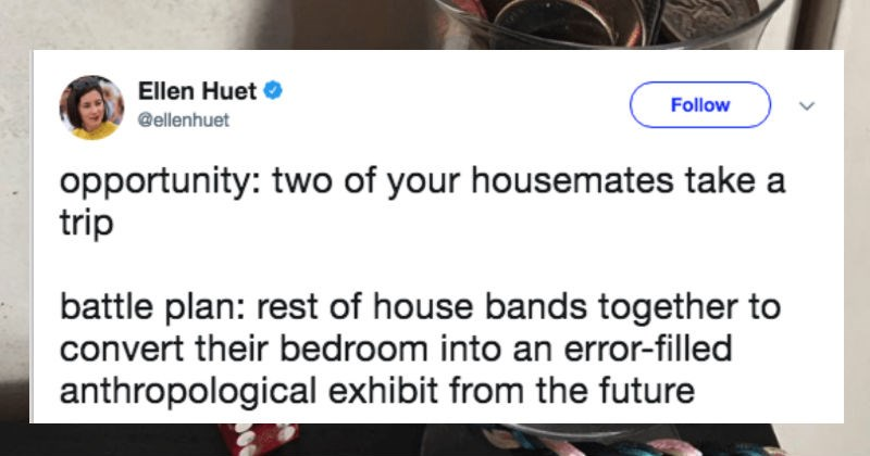 Girl converts her roommate's bedroom into a museum exhibit | Ellen Huet Follow @ellenhuet opportunity: two housemates take trip battle plan: rest house bands together convert their bedroom into an error-filled anthropological exhibit future