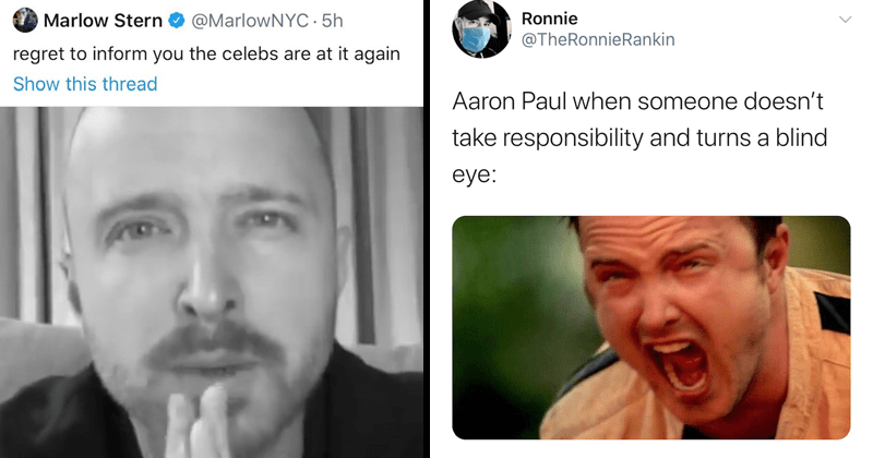 Funny tweets about 'i take responsibility' celebrity videos, aaron paul, cringe | Marlow Stern @MarlowNYC·4h regret inform celebs are at again 4.3M views Q7,397 278,487 49.1K | Ronnie @TheRonnieRankin Aaron Paul someone doesn't take responsibility and turns blind eye: 3:21 PM 6/11/20 Twitter iPhone Jesse Pinkman screaming