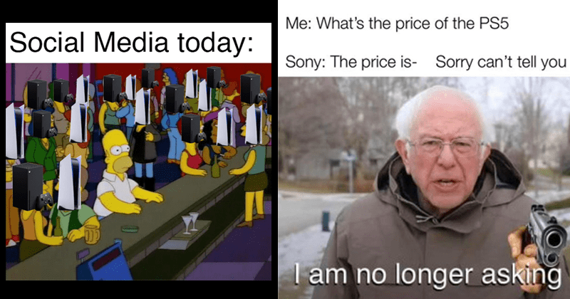 Funny gaming memes about ps5 console design, ps5 parodies, xbox, ps5 price, dank memes, video games, gamer memes | Social Media today: Homer Simpson in a bar of black boxes | Bernie Sanders price PS5 Sony price is- Sorry can't tell am no longer asking