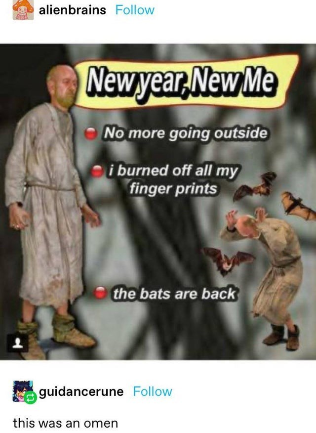 top ten 10 tumblr posts daily   alienbrains Follow Newyear, New No more going outside burned off all my finger prints bats are back guidancerune Follow this an omen