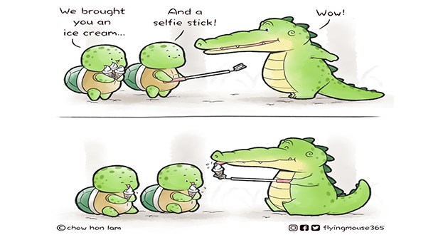 alligators buddy comics wholesome aww animals cute adorable art artist animals gator | two little tortoises and a gator crocodile brought And Wow an selfie stick! ice cream chow hon lam OAO flyingmouse 365