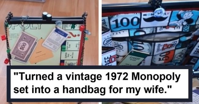 upcycle old things new brand reddit imgur life hack DIY crafts pictures photo | Turned a vintage 1972 Monopoly set into a handbag for my wife