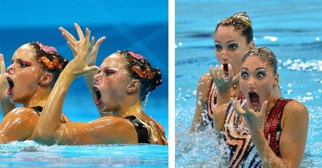 awkward Faces Synchronized Swimmers funny pics swimming face pool