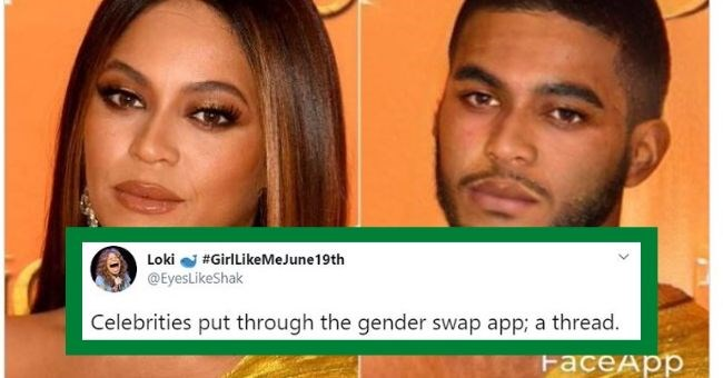 celebrities gender swap pictures funny pics faceapp photoshop celebs | Loki #GirlLikeMeJune19th @EyesLikeShak Celebrities put through gender swap app thread. FaceApp Beyonce Knowles Carter male and female version