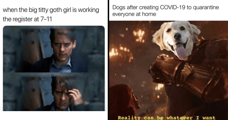 Funny and dank Marvel memes, marvel cinematic universe, thanos, funny memes | Spider Man Toby McGuire big titty goth girl is working register at 7-11 | Dogs after creating COVID-19 quarantine everyone at home Reality can be whatever want Thanos