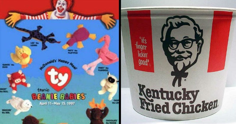 Ads, toys and pictures from 80s and 90s fast food nostalgia | wwen PAPY oe PLUNAS McDonald's Happy Meal ty teenie BEANIE BABIES PAMINIO teenie GOE April 11-May 15, 1997 HOO TUILE Also available! New Toddler Toys | bucket s finger lickin good Kentucky Fried Chicken