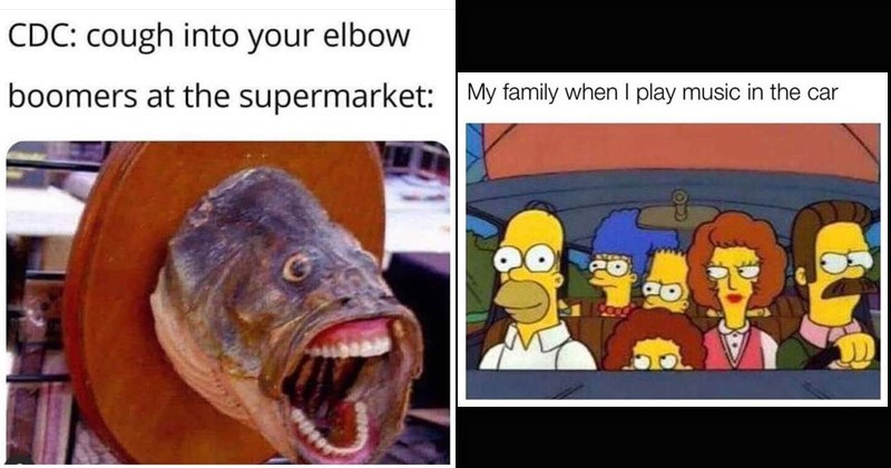 Funny random memes | CDC: cough into elbow boomers at supermarket: fish head wall mount with human teeth | My family play music car The Simpsons riding in a car