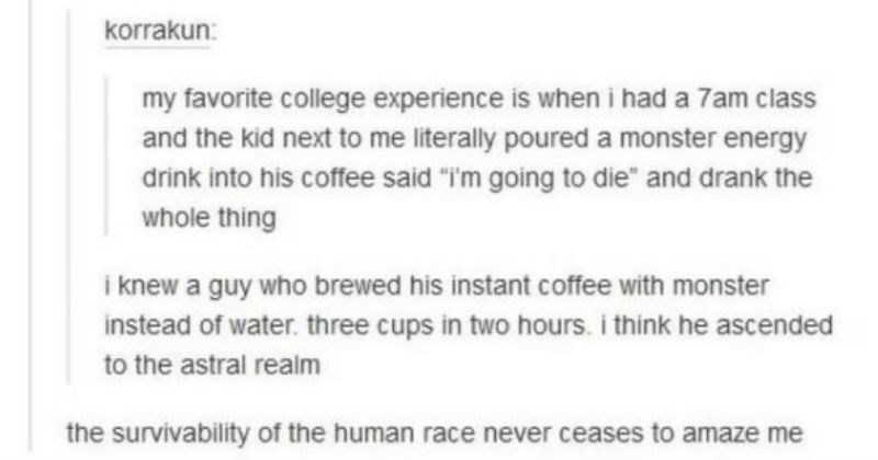 "Tumblr thread story of college kid who drank too much caffeine | korrakun: my favorite college experience is had 7am class and kid next literally poured monster energy drink into his coffee said going die"" and drank whole thing knew guy who brewed his instant coffee with monster instead water. three cups two hours think he ascended astral realm survivability human race never ceases amaze TABI ANECDOTE"