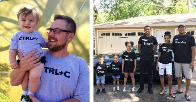 tshirt pairing creative internet reddit etsy writing design | man in a shirt that reads CTRL+C holding a baby in a CTRL+V shirt | family where all members wearing different shirts Blueprint Encore Original Remix Mic Drop Replay