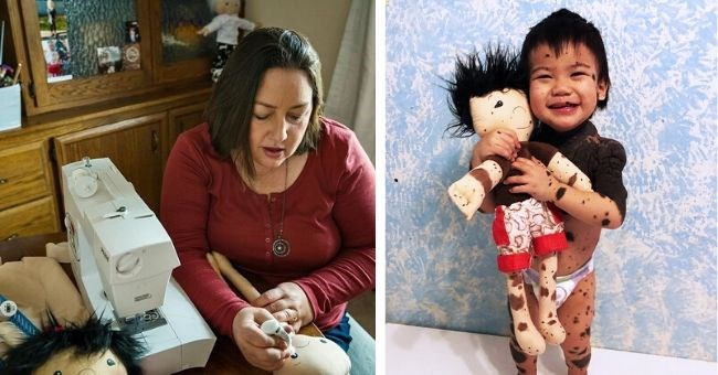 woman lookalike dolls children disabilities photos facebook inspiring heartwarming creative alone kids | woman sitting beside a sewing machine drawing on a toy and child holding a doll with spots on its body matching the human child
