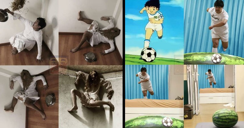 funny cosplay done on a budget | person dressed in white throwing spaghetti on their face and falling into a corner resulting in the image of a haunted person in a horror movie | guy in soccer gear kicking a ball over a watermelon football anime