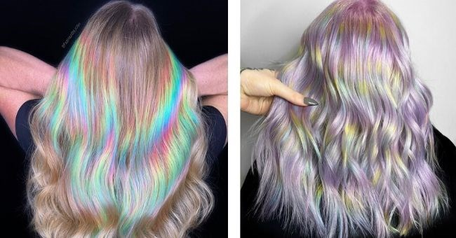 Incredibly Mesmerizing Holographic Hair Trend pictures of holographic hair on women