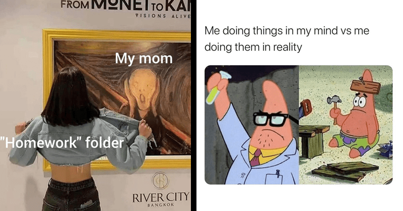 "Funny random memes | woman flashing Edvard Munch the scream painting MONETTOKANDI VISIONS ALIVE My mom ""Homework"" folder RIVER CITY BANGKOK 