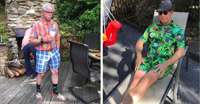 dads who don't know about fashion cover image dads in bad clothes | man on a lounge chair wearing a tropical printed shirt and shorts | mustachioed man in floral shirt and checkered shorts