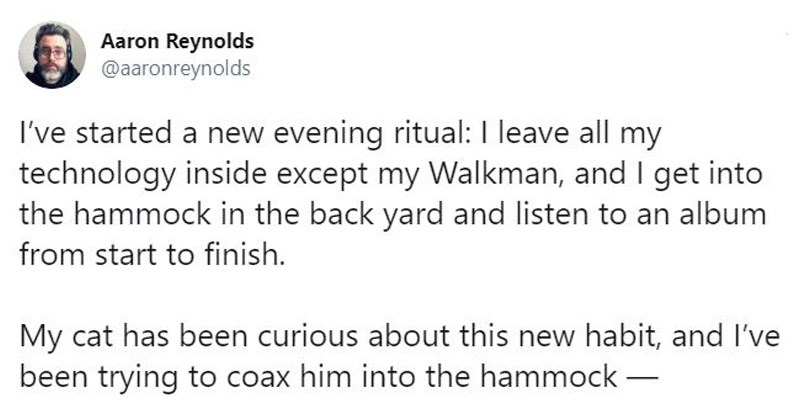 Funny Twitter story about a guy who gets into a little skirmish with a raccoon when it gets up into his hammock | Aaron Reynolds @aaronreynolds started new evening ritual leave all my technology inside except my Walkman, and get into hammock back yard and listen an album start finish. My cat has been curious about this new habit, and been trying coax him into hammock